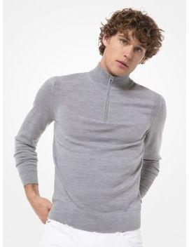 Merino Wool Quarter Zip Sweater by Michael Kors Mens