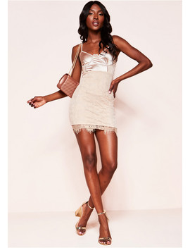 Riley Nude Satin Lace Mini Dress by Missy Empire