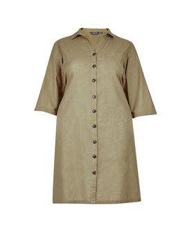 **Dp Curve Khaki 3/4 Sleeve Shirt Dress With Linen by Dorothy Perkins