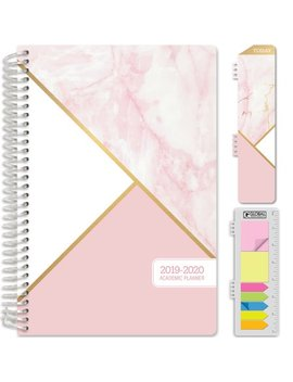 "Hardcover Academic Year 2019 2020 Planner: (June 2019 Through July 2020) 5.5""X8"" Daily Weekly Monthly Planner Yearly Agenda. Bonus Bookmark, Pocket Folder And Sticky Note Set (Pink Marble Triangles) by Global Printed Products"