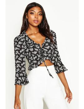 Tall Floral Print Ruffle Lace Up Blouse by Boohoo
