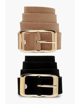 2-pack-suedette-boyfriend-belts by boohoo