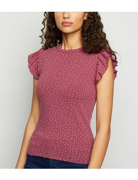 Red Spot Ribbed Frill Top by New Look