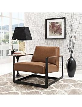 Seg Brown Upholstered Vinyl Accent Chair by Modway