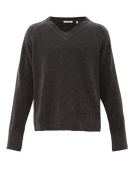Anthracite V Neck Cotton Sweater by Our Legacy