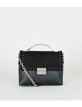 Black Leather Look Studded Mini Shoulder Bag by New Look