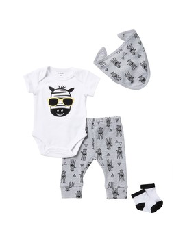 Zebra 4 Piece Layette Set (Baby Boys) by Petit Lem