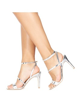 Silver 'delly' High Heel Wide Fit Ankle Strap Sandals by Faith