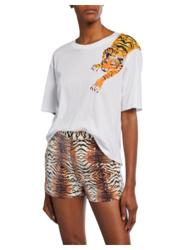 Scratching Tiger Graphic Short Sleeve Cotton T Shirt by Le Superbe