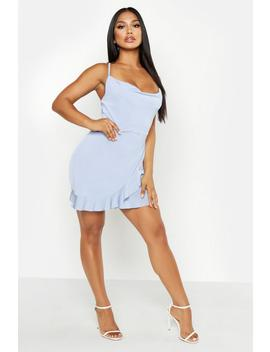 Cowl Neck Ruffle Bodycon Mini Dress by Boohoo