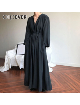 Chicever Casual Women's Dresses V Neck Long Sleeve Lace Up Black Maxi Dress Female Korean Oversized 2019 Autumn Fashion New by Ali Express.Com