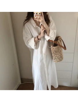 Cotton Linen Plus Size Oversized Korean Summer Loose Sun Long Shirt Single Button Dress Vintage Split Vestidos Robe Blusa by Ali Express.Com