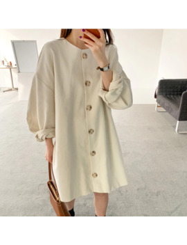 Single Breasted Midi Dress Women Elegant Autumn Dress Casual Long Puff Sleeve Loose Party Dress Oversized O Neck Korean Dress by Ali Express.Com