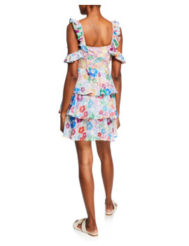 Ilima Embroidered Floral Tiered Cold Shoulder Dress by All Things Mochi