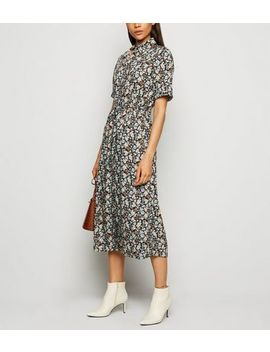 Black Floral Drawstring Waist Midi Shirt Dress by New Look