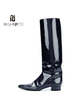 Prova Perfetto 2019 New Superstar Slip On Patent Leather Knight Boots Women Pointed Toe Low Heel Runway Style Knee High Boots by Ali Express.Com
