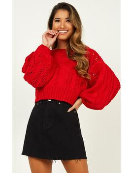 Vibrant Vibes Knit Jumper In Red by Showpo Fashion