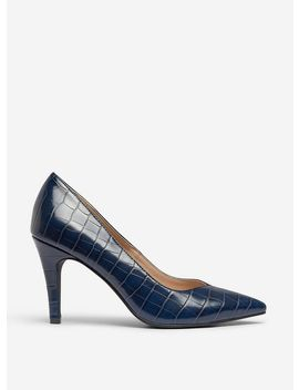 Navy 'drake' Crocodile Court Shoes by Dorothy Perkins