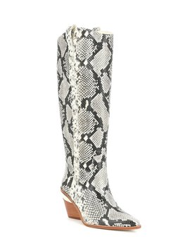 Danitza Snake Print Leather Block Heel Western Boots by Gianni Bini
