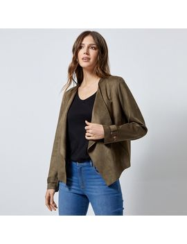 Khaki Short Waterfall Suedette Jacket by Dorothy Perkins