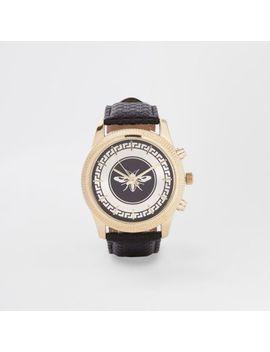 Wasp Horloge Met Zwarte Leerlook Band by River Island