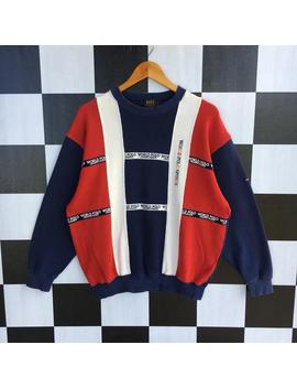 Vintage 90s World Polo Championship Sweatshirt Jumper Pullover Colourway Colour Block Sweatshirt L Size Rare Item by Etsy