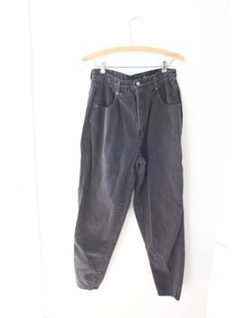 Vintage High Rise Waist Black Mom Jeans Tapered Denim 30 #0212 by Etsy