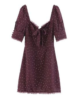 'janelle' Polka Dot Lace Trimmed Mini Dress by Goodnight Macaroon