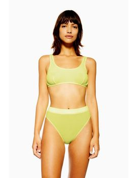 Yellow Plisse High Waisted Knickers by Topshop