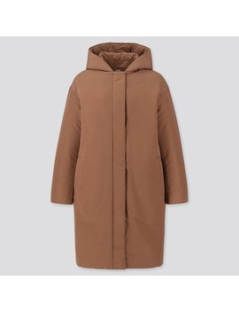 Women Hybrid Down Cocoon Silhouette Hooded Coat by Uniqlo