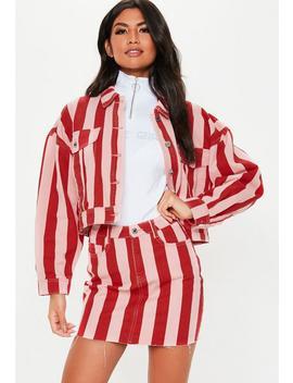 pink-stripe-rigid-co-ord-denim-mini-skirt by missguided