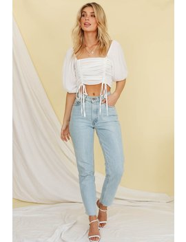 Light Up The Night Ruched Top // White by Vergegirl