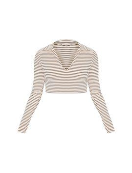 Nude Stripe Rib Collar Crop Top by Prettylittlething
