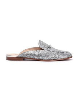 Snake Print Metallic Leather Slippers by Sam Edelman