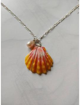 Sunrise Shell Necklace.Hawaiian Seashell. Silver Chain. Sunrise Shell With Freshwater Pearl. Beach/Hawaiian by Etsy