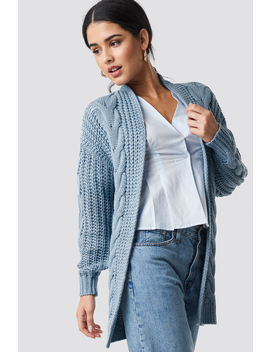 Chunky Cable Knit Long Cardigan Blue by Na Kd