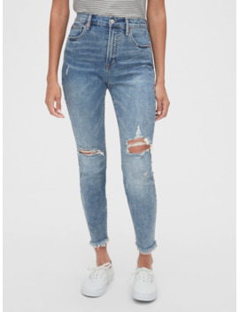 High Rise Destructed True Skinny Ankle Jeans With Secret Smoothing Pockets by Gap