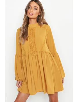 Boho Crochet Detail Wide Sleeve Smock Dress by Boohoo