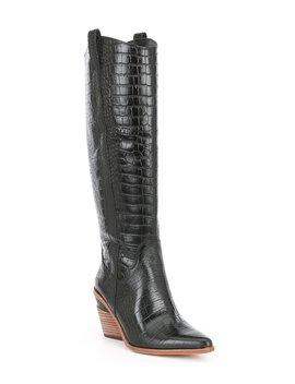 Danitza Croco Embossed Leather Block Heel Western Boots by Gianni Bini