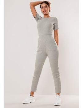 Gray Ribbed Pocket Jumpsuit by Missguided