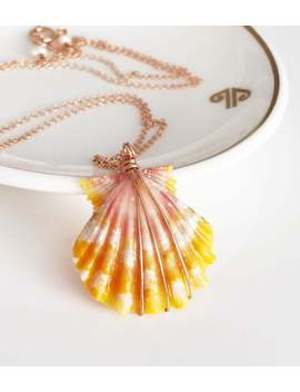 Necklace Alani   Orange Sunrise Shell Necklace   Tiger Stripes Sunrise Shell   Sunrise Shell Necklace   Shell Necklace (N177) by Etsy