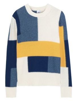 Thora Color Block Intarsia Knit Sweater by Iris & Ink