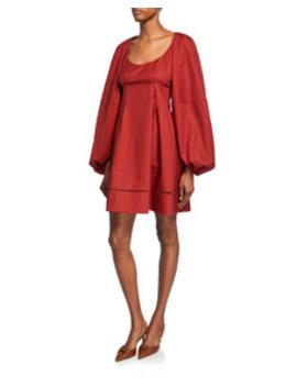 Madison Blouson Sleeve Poplin Dress by Khaite