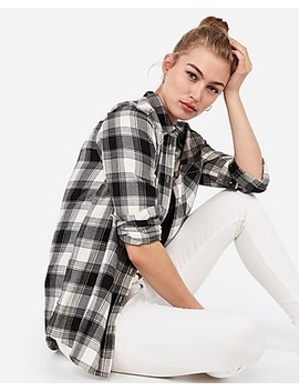 Plaid Boyfriend Flannel Shirt by Express