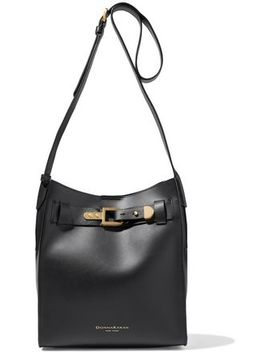 Columbus Buckle Detailed Leather Bucket Bag by Donna Karan