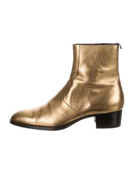 Leather Wyatt Metallic Ankle Boot W/ Tags by Saint Laurent