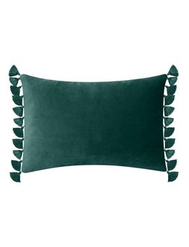 "Better Homes & Gardens Feather Filled Tassled Velvet Oblong Decorative Throw Pillow, 14"" X 20"", Emerald by Better Homes & Gardens"