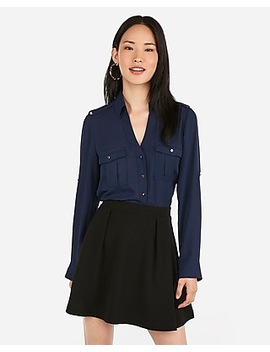 Slim Military Utility Portofino Shirt by Express