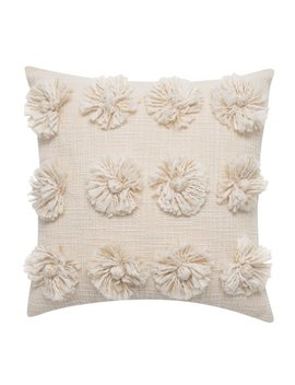 "Better Homes & Gardens Down Alternative Filled Handcrafted Fringe Flowers Decorative Throw Pillow, 18""X18"", Ivory by Better Homes & Gardens"