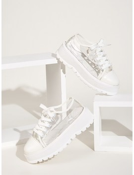 Transparent Lace Up Front Chunky Sole Sneakers by Romwe